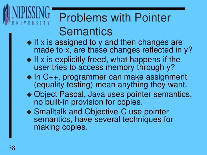 Problems with Pointer Semantics