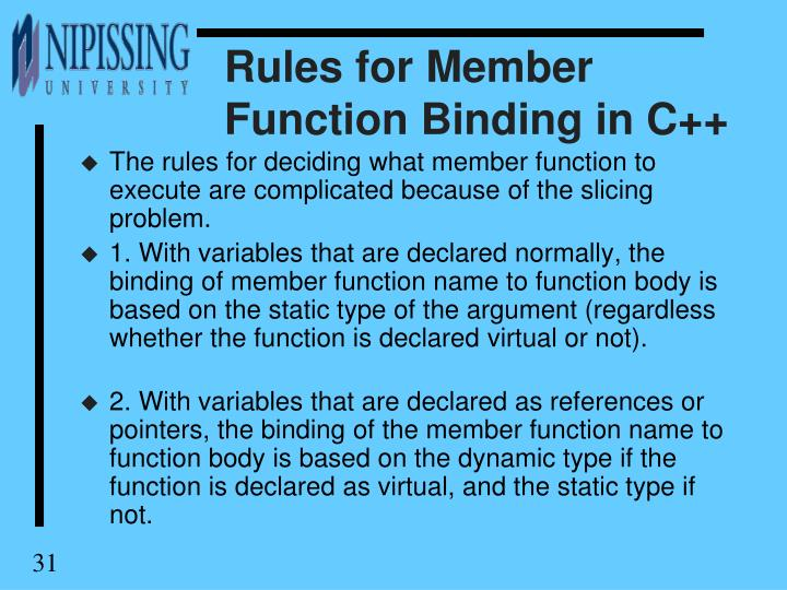 Rules for Member Function Binding in C++