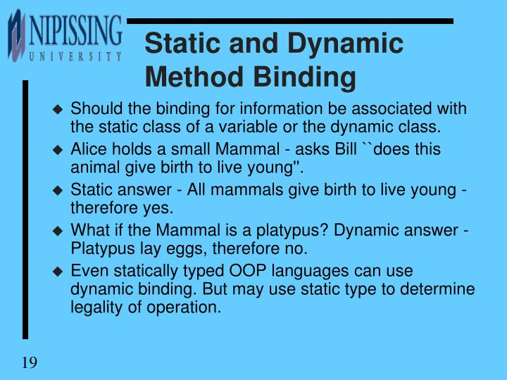 Static and Dynamic Method Binding