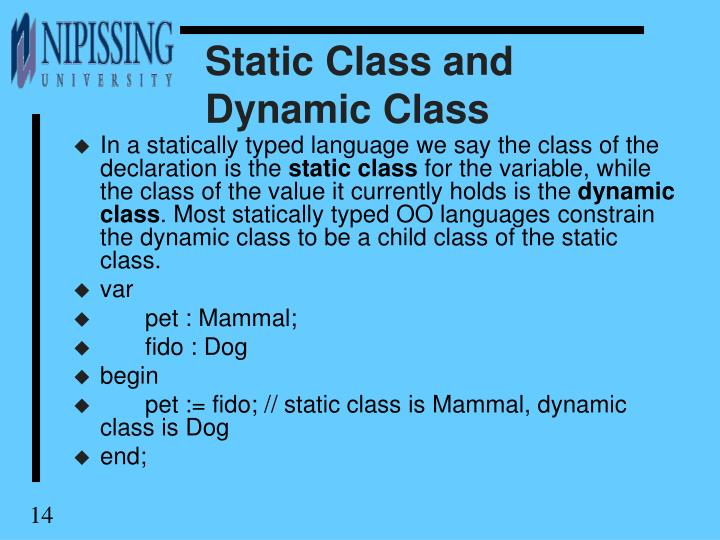 Static Class and Dynamic Class