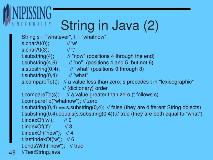 String in Java (2)