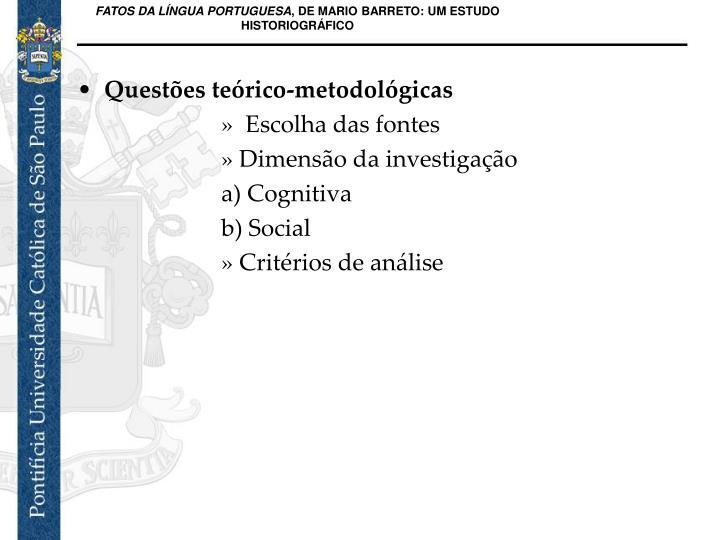 Questões teórico-metodológicas