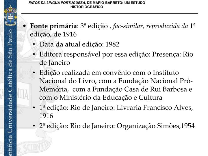 FATOS DA LÍNGUA PORTUGUESA