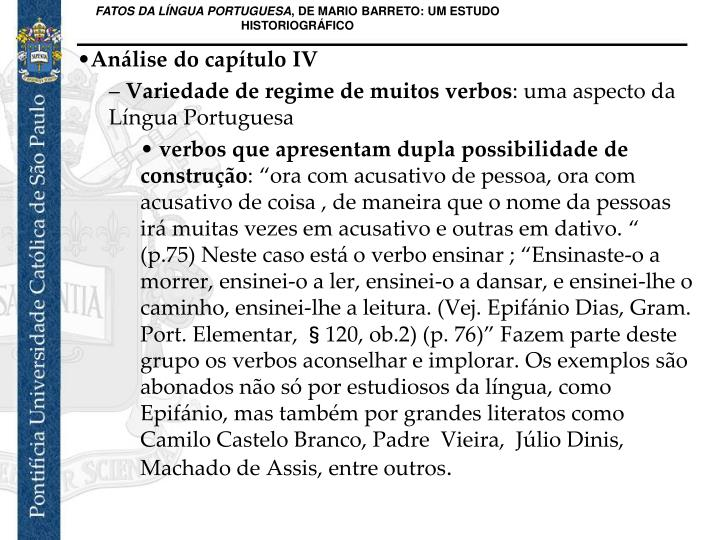 Anlise do captulo IV