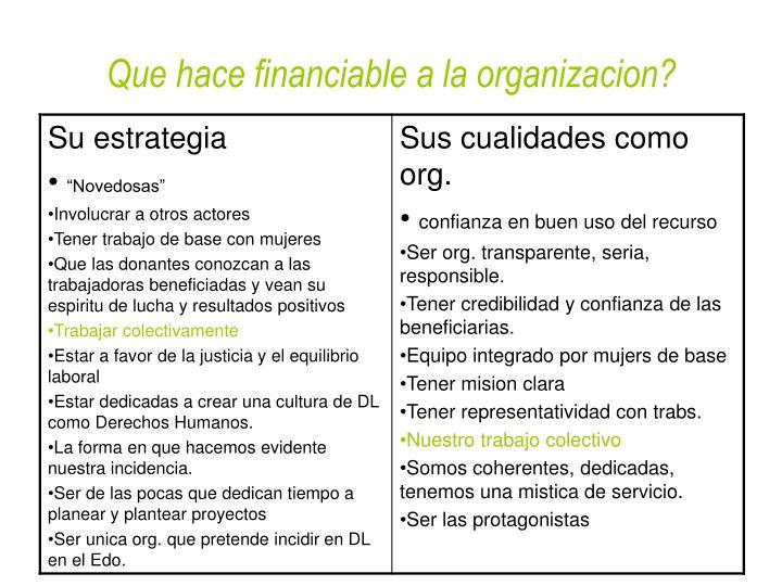 Que hace financiable a la organizacion?