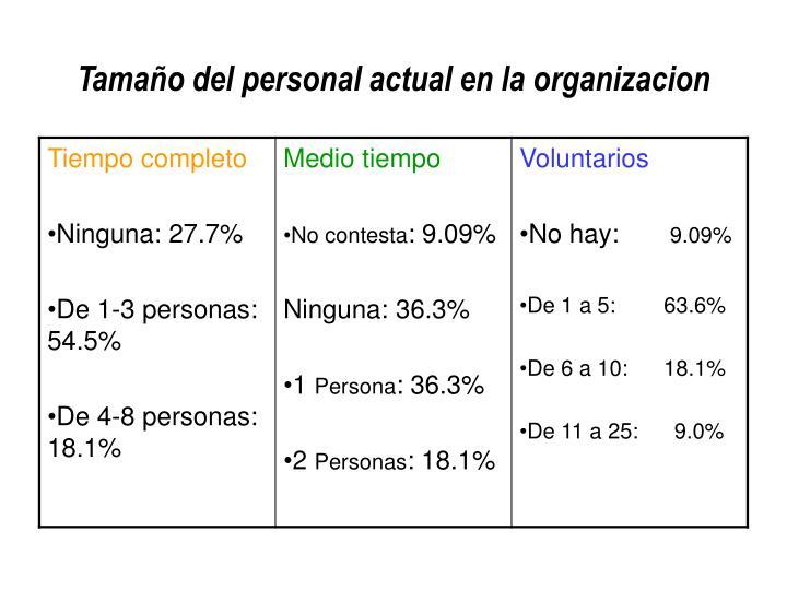 Tamaño del personal actual en la organizacion