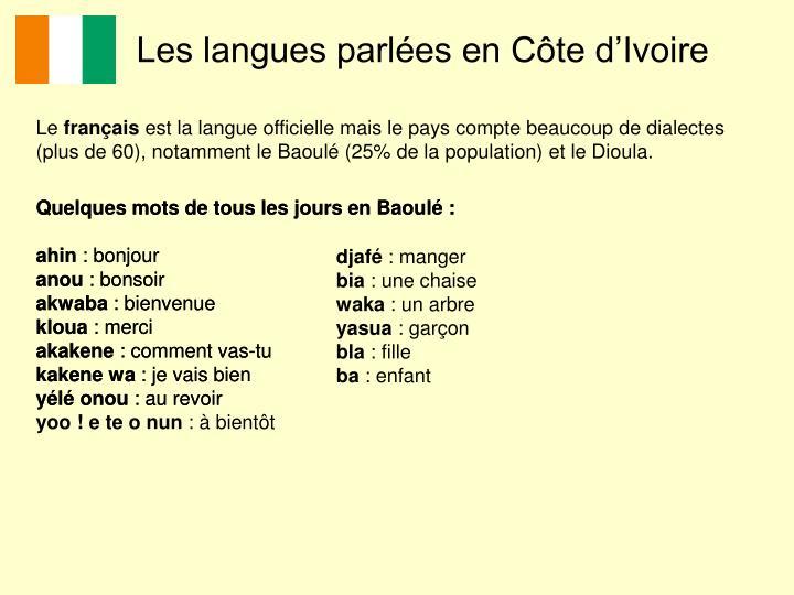Les langues parlées en Côte d'Ivoire