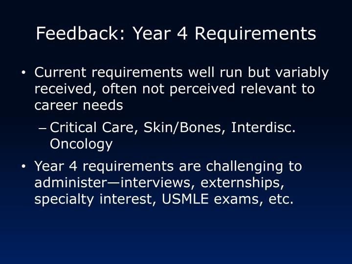 Feedback: Year 4 Requirements