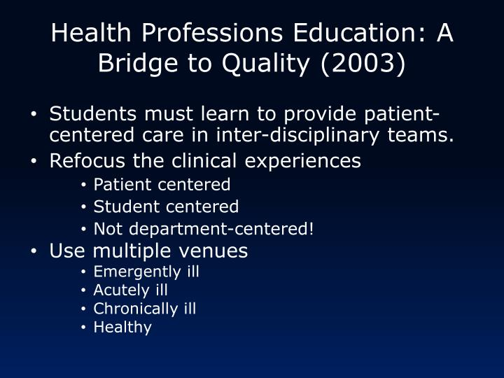 Health Professions Education: A Bridge to Quality (2003)