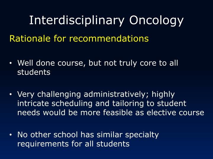 Interdisciplinary Oncology