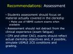 recommendations assessment