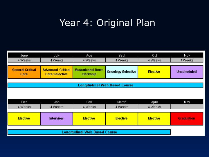 Year 4: Original Plan