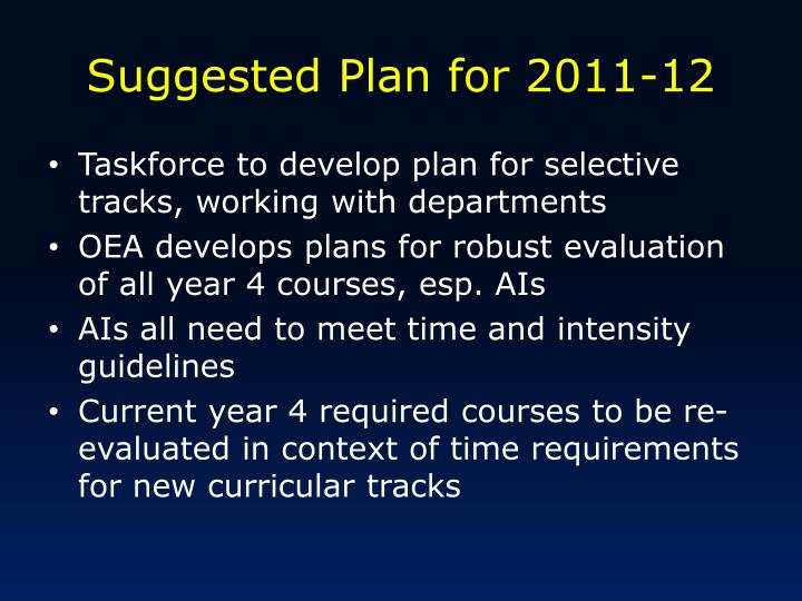 Suggested Plan for 2011-12