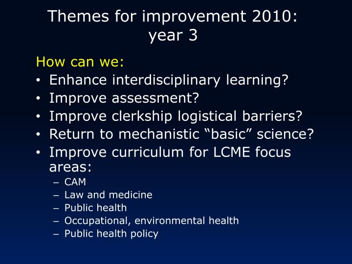 Themes for improvement 2010: year 3