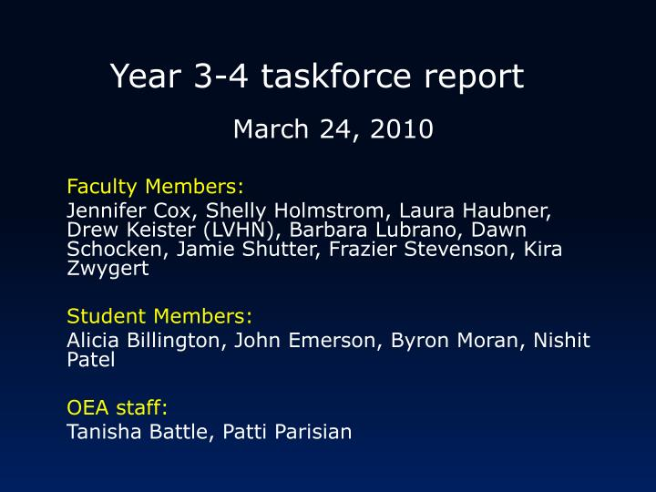 Year 3-4 taskforce report