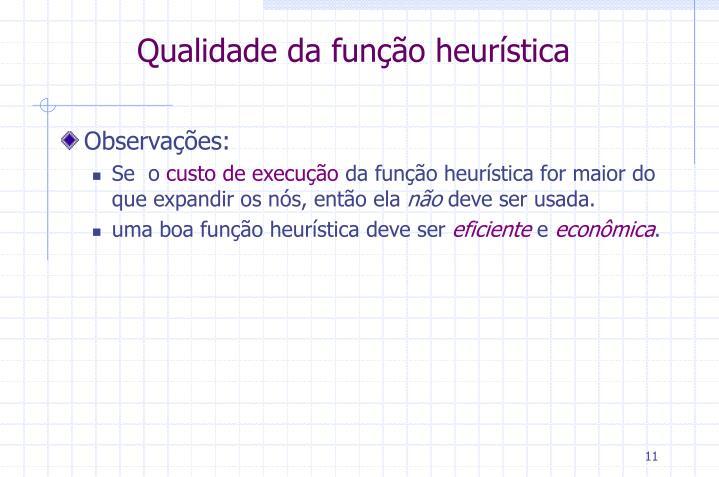 Qualidade da função heurística