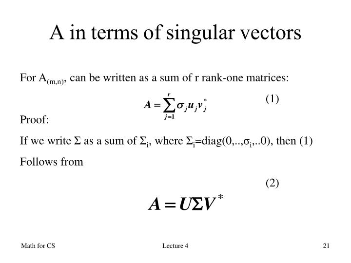 A in terms of singular vectors