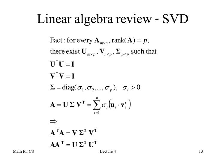 Linear algebra review - SVD