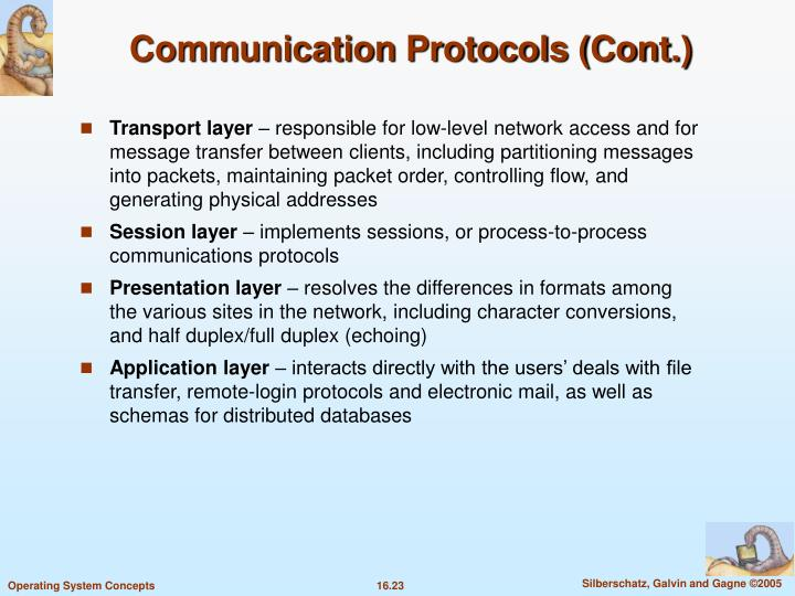 Communication Protocols (Cont.)