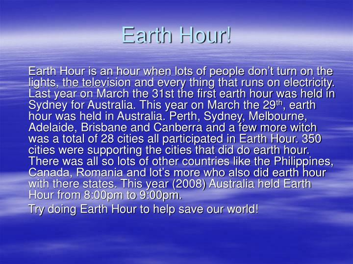 Earth Hour!