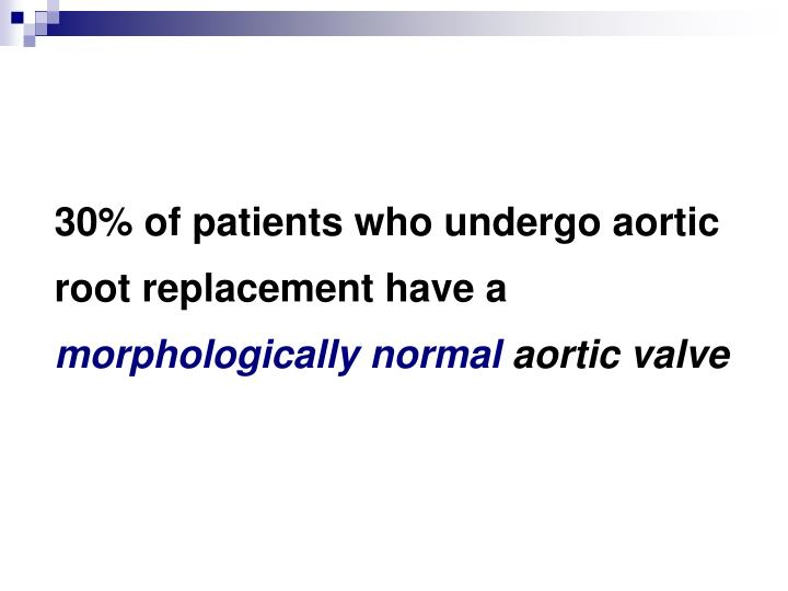 30% of patients who undergo aortic root replacement have a