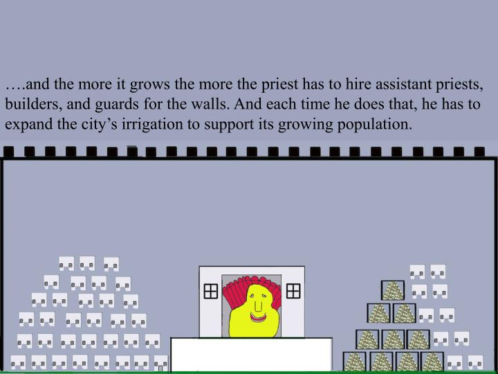 ….and the more it grows the more the priest has to hire assistant priests, builders, and guards for the walls. And each time he does that, he has to expand the city's irrigation to support its growing population.