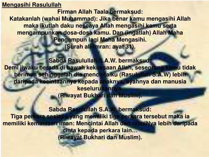 Mengasihi Rasulullah