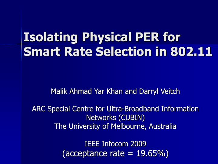 Isolating physical per for smart rate selection in 802 11