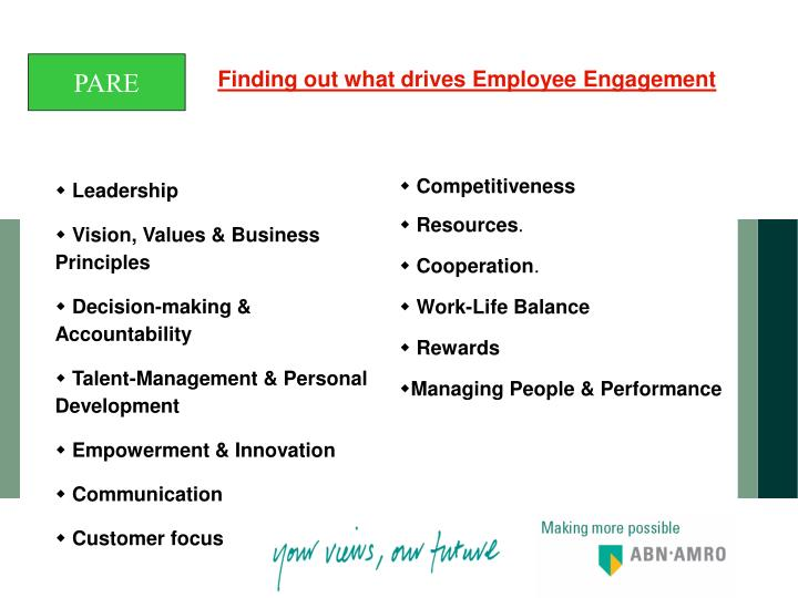 Finding out what drives Employee Engagement