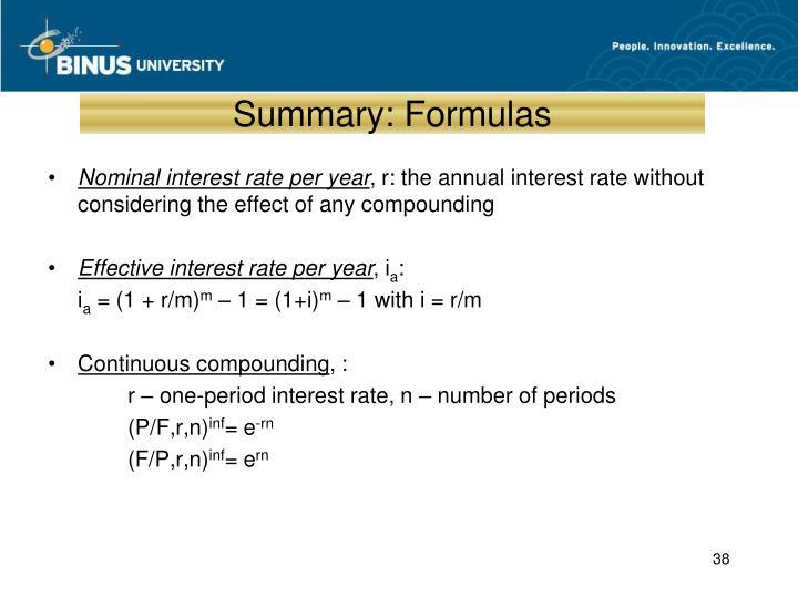 Summary: Formulas