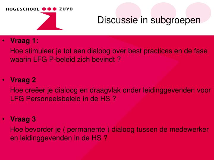 Discussie in subgroepen