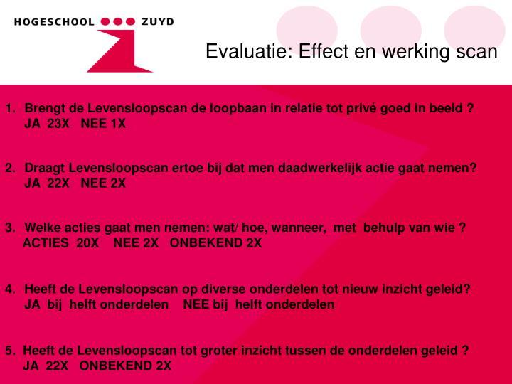 Evaluatie: Effect en werking scan