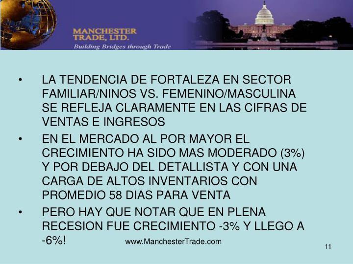 LA TENDENCIA DE FORTALEZA EN SECTOR FAMILIAR/NINOS VS. FEMENINO/MASCULINA SE REFLEJA CLARAMENTE EN LAS CIFRAS DE VENTAS E INGRESOS