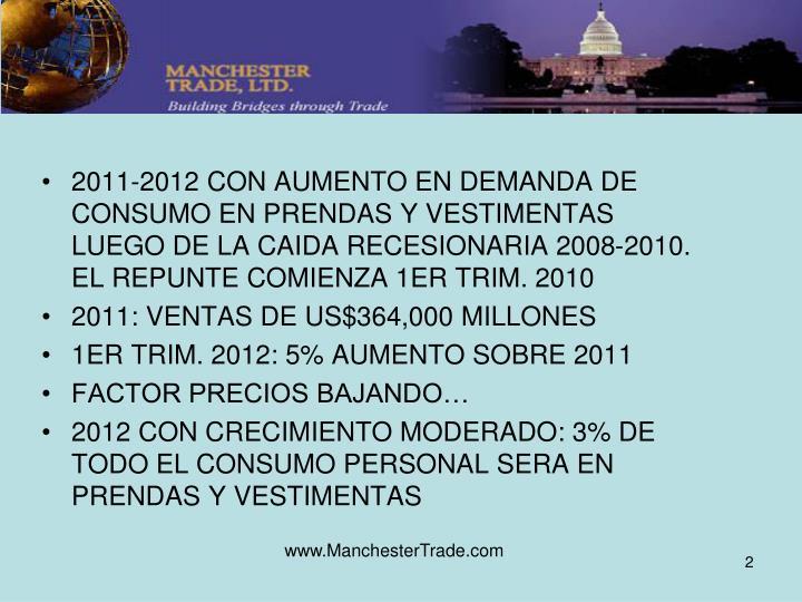 2011-2012 CON AUMENTO EN DEMANDA DE CONSUMO EN PRENDAS Y VESTIMENTAS LUEGO DE LA CAIDA RECESIONARIA 2008-2010. EL REPUNTE COMIENZA 1ER TRIM. 2010