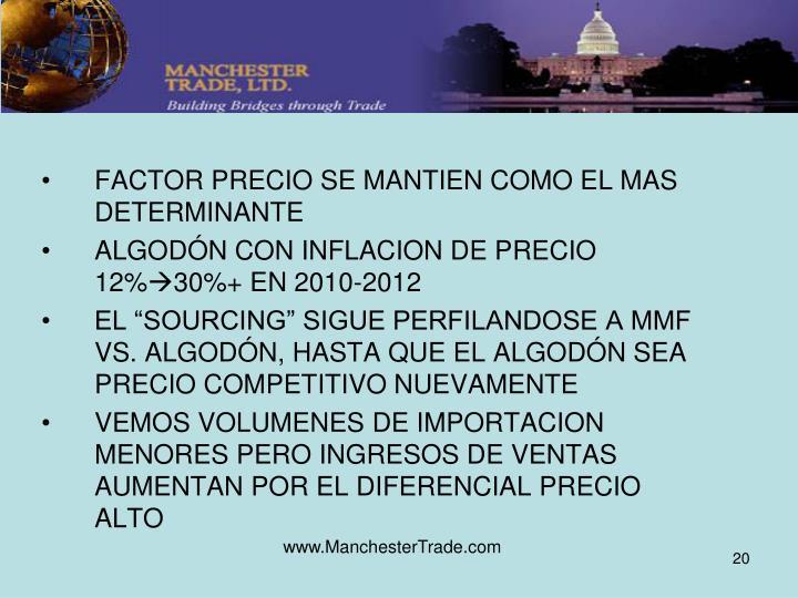 FACTOR PRECIO SE MANTIEN COMO EL MAS DETERMINANTE