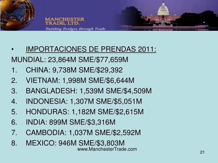 IMPORTACIONES DE PRENDAS 2011: