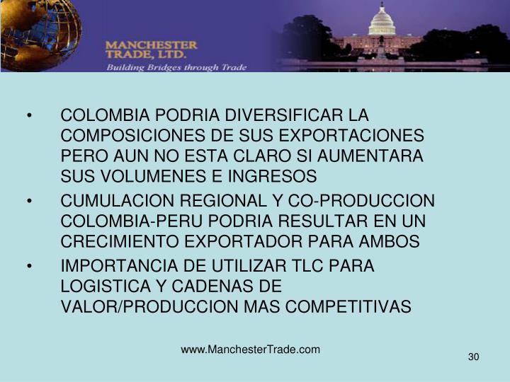 COLOMBIA PODRIA DIVERSIFICAR LA COMPOSICIONES DE SUS EXPORTACIONES PERO AUN NO ESTA CLARO SI AUMENTARA SUS VOLUMENES E INGRESOS