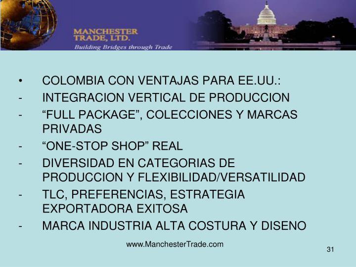 COLOMBIA CON VENTAJAS PARA EE.UU.: