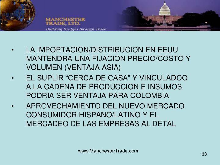 LA IMPORTACION/DISTRIBUCION EN EEUU MANTENDRA UNA FIJACION PRECIO/COSTO Y VOLUMEN (VENTAJA ASIA)