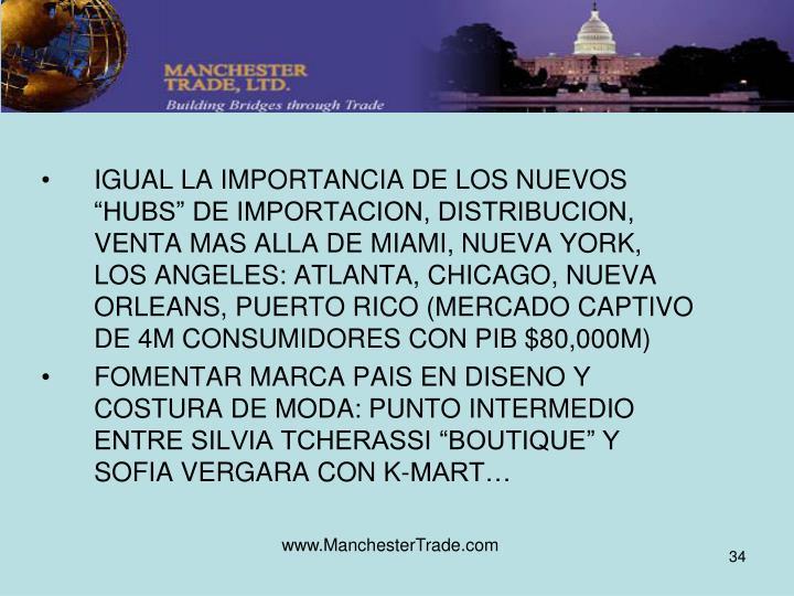 """IGUAL LA IMPORTANCIA DE LOS NUEVOS """"HUBS"""" DE IMPORTACION, DISTRIBUCION, VENTA MAS ALLA DE MIAMI, NUEVA YORK, LOS ANGELES: ATLANTA, CHICAGO, NUEVA ORLEANS, PUERTO RICO (MERCADO CAPTIVO DE 4M CONSUMIDORES CON PIB $80,000M)"""
