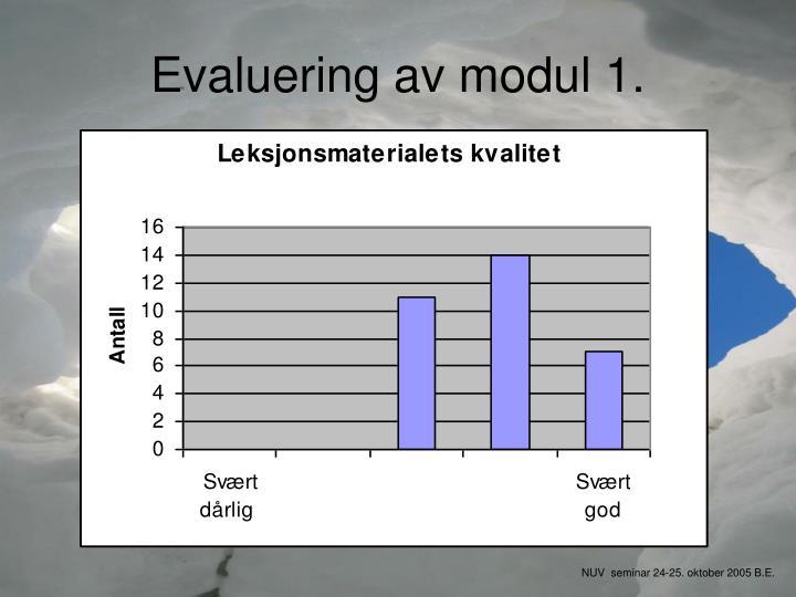 Evaluering av modul 1.