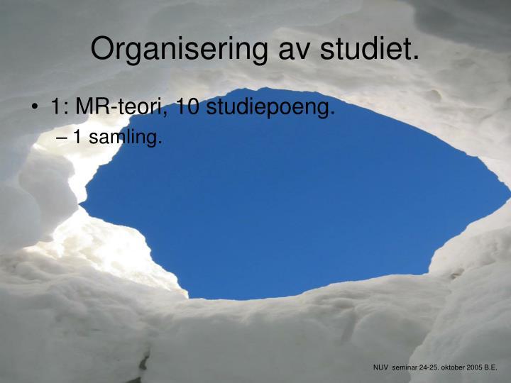 Organisering av studiet.