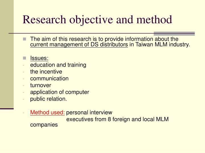 Research objective and method