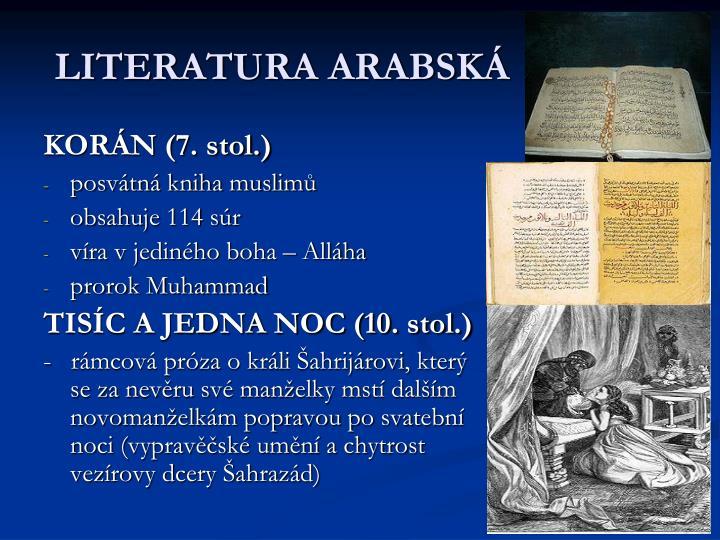 LITERATURA ARABSKÁ