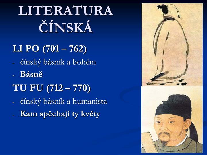 LITERATURA ČÍNSKÁ