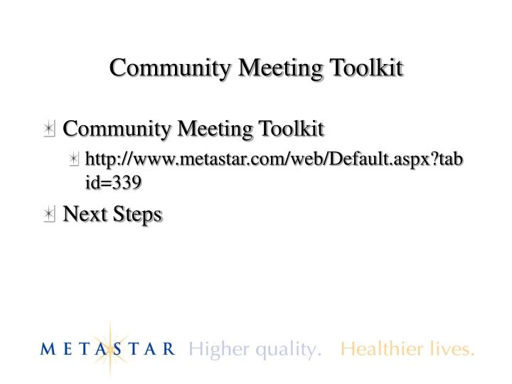 Community Meeting Toolkit