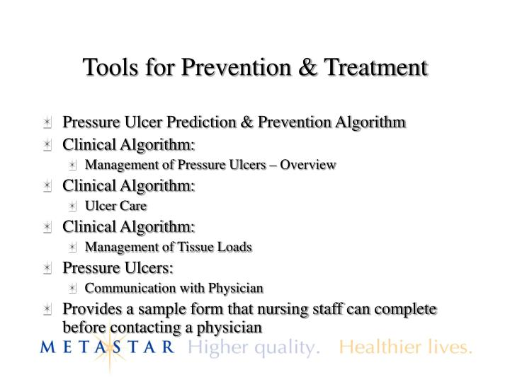 Tools for Prevention & Treatment