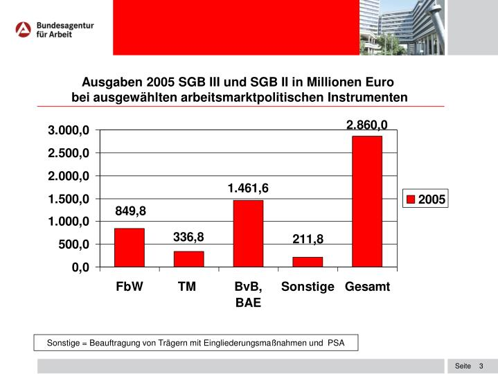 Ausgaben 2005 SGB III und SGB II in Millionen Euro