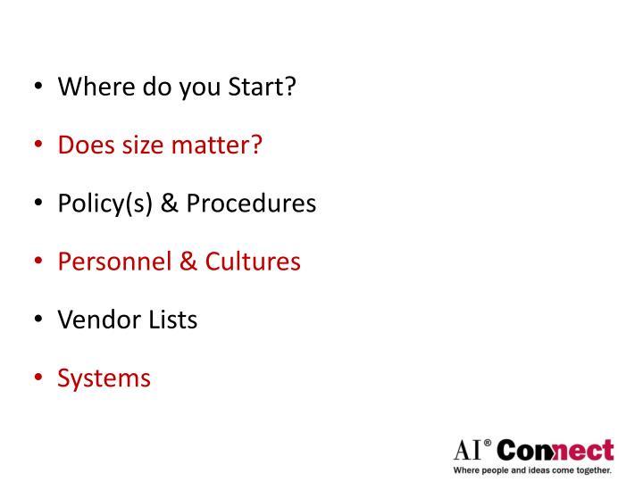 Where do you Start?