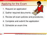 applying for the exam